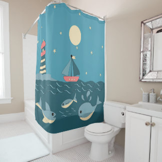 Light and boat shower curtain