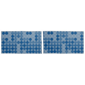 Light and Dark Blue Dots Design, Four in a Row Pillowcase