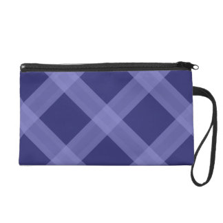 Light And Dark Blue Plaid Pattern Purse Wristlet Clutch