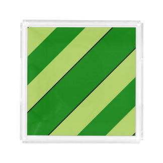 Light And Dark Green Stripes Acrylic Tray