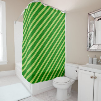 Light And Dark Green Stripes Shower Curtain