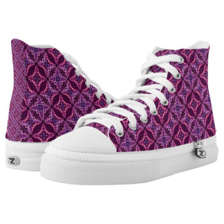 Light And Dark Purple  Pattern Printed Shoes