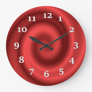 Light And Dark Red Swirls Large Clock