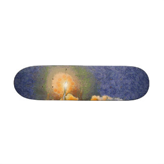 Light and halo around a rocket skate board