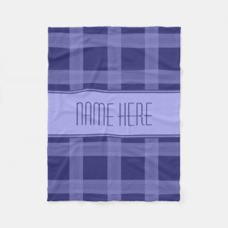 Light And Nave Blue Plaid Custom Name Blanket Fleece Blanket