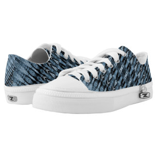 Light and navy blue stripe pattern printed shoes