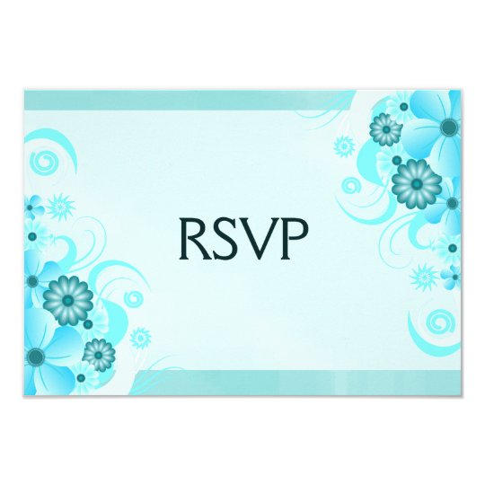 Light Aqua Blue Floral Elegant RSVP Response Card