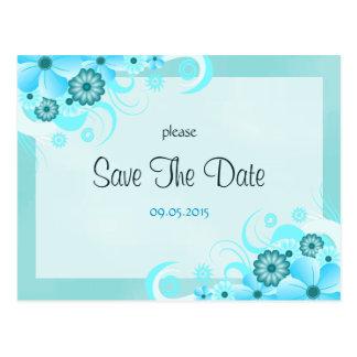 Light Aqua Blue Floral Wedding Save The Date Cards