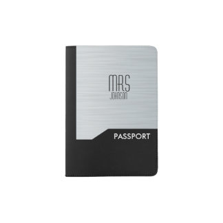 Light Aqua Steel Brush Color Passport Holder