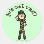 Light Army Woman Round Sticker