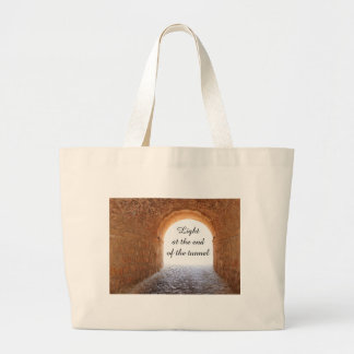 Light at the end of the tunnel large tote bag