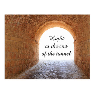 Light at the end of the tunnel postcard