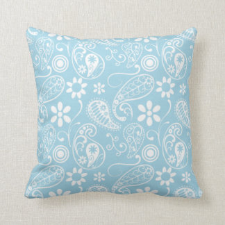 Light Baby Blue Paisley Pattern Cushion