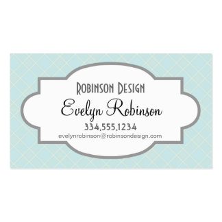 Light Baby Blue Plaid Business Card Template
