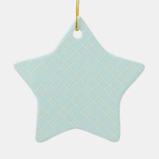 Light Baby Blue Plaid Ceramic Star Decoration