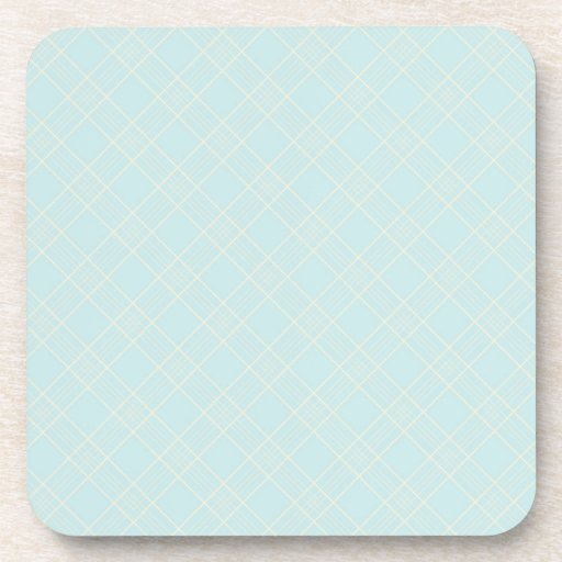 Light Baby Blue Plaid Drink Coasters
