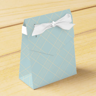 Light Baby Blue Plaid Favour Boxes