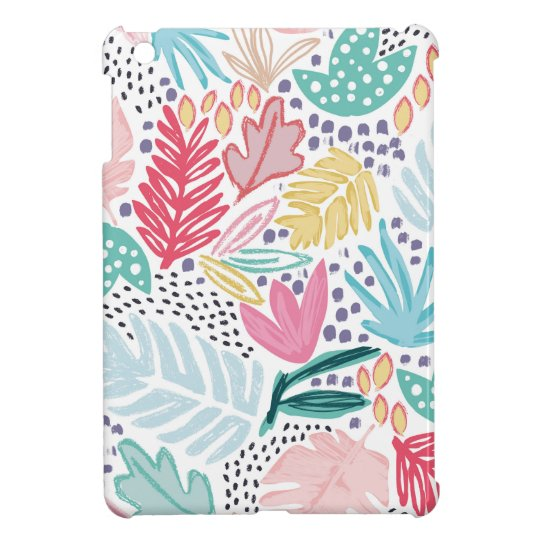 Light Base Tropical Collage Pattern iPad Case