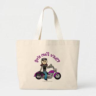 Light Biker Girl Tote Bags