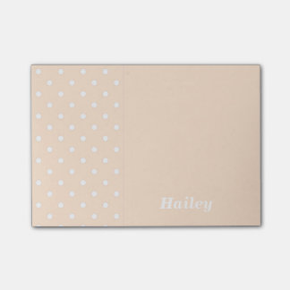 Light Bisque Polka Dot Personalized Post It Notes
