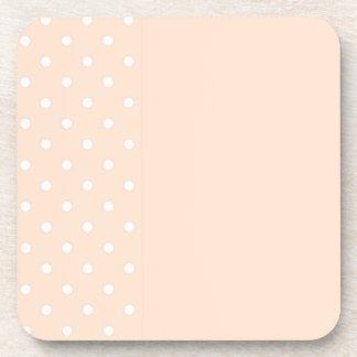 Light Bisque Polka Dots Drink Coaster