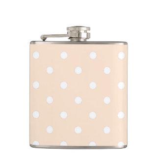 Light Bisque Polka Dots Hip Flask