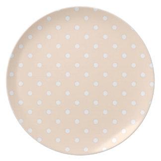 Light Bisque Polka Dots Dinner Plates