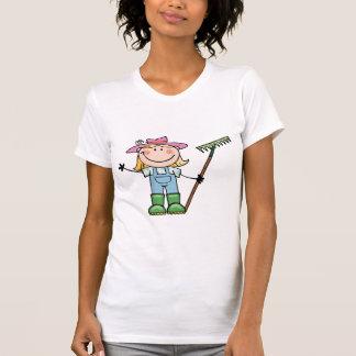 Light Blonde Gardener with Pink Hat T-Shirt