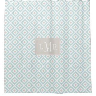 Light Blue and Beige Geometric Monogram Shower Curtain