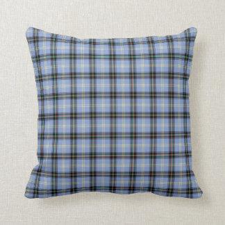 Light Blue and Black Bell Clan Scottish Plaid Cushion