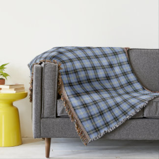 Light Blue and Black Bell Clan Scottish Plaid Throw Blanket