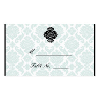 Light Blue and Black Damask Wedding Place Cards Business Cards