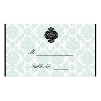 Light Blue and Black Damask Wedding Place Cards Pack Of Standard Business Cards