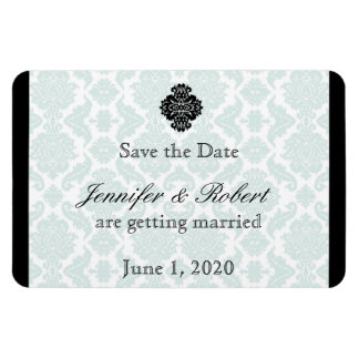 Light Blue and Black Damask Wedding Save the Date Rectangular Photo Magnet