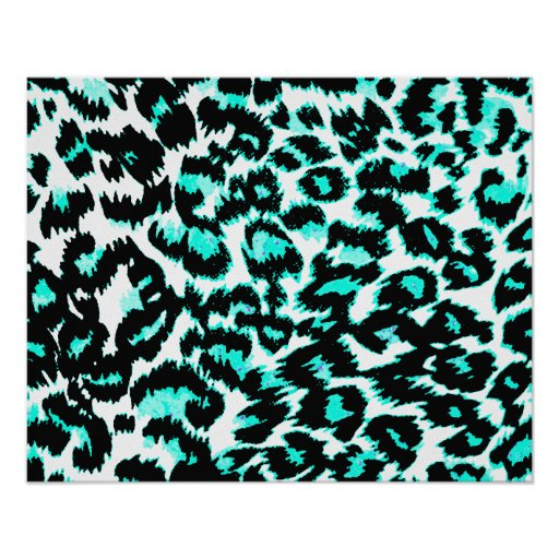 Light Blue and Black Leopard Print