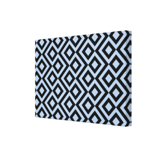 Light Blue And Black Meander Gallery Wrap Canvas