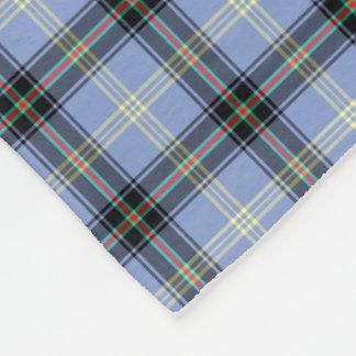 Light Blue and Black Plaid Clan Bell Tartan Fleece Blanket