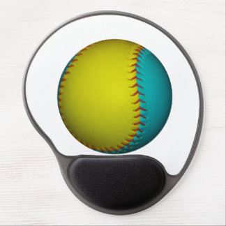 Light Blue and Bright Yellow Softball Gel Mouse Mat