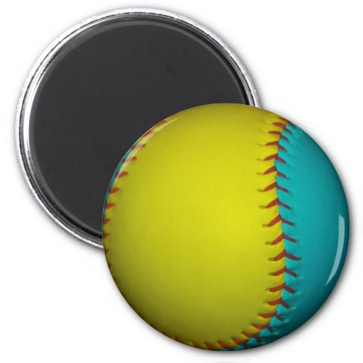 Light Blue and Bright Yellow Softball Fridge Magnets