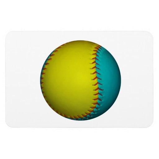 Light Blue and Bright Yellow Softball Magnet