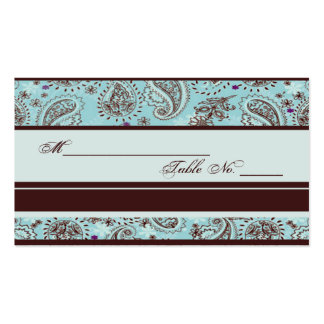Light Blue and Brown Paisley Wedding Place Card Pack Of Standard Business Cards