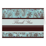 Light Blue and Brown Paisley Wedding Thank You Greeting Card