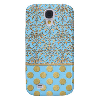 Light Blue and Gold Damask and Polka Dots Galaxy S4 Cover