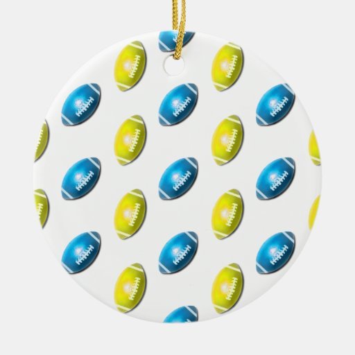 Light Blue and Gold Football Pattern Ornaments