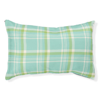 Light Blue and Green Plaid Small Dog Bed