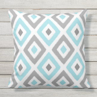 Light Blue and Grey Ikat Diamond Pattern Cushion