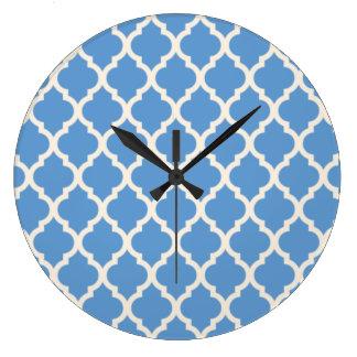 Light Blue and Off White Quatrefoil Large Clock