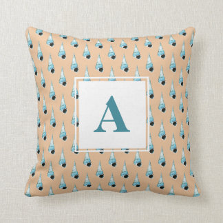 Light Blue and Peach Seashell Monogram Cushion