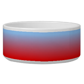 Light Blue and Red Ombre Dog Bowl