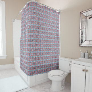 Light Blue and Red Pattern Shower Curtain